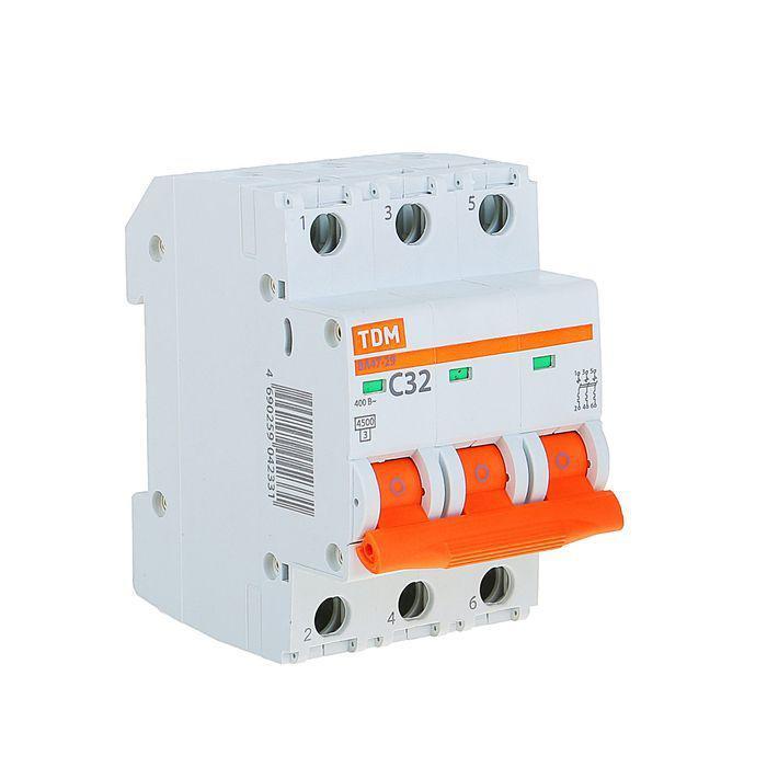 Автоматический выключатель реечный TDM ВА47-29 3P 32А, 230/400 В, Кол-во полюсов: 3, Предел отключения: 4,5 кА
