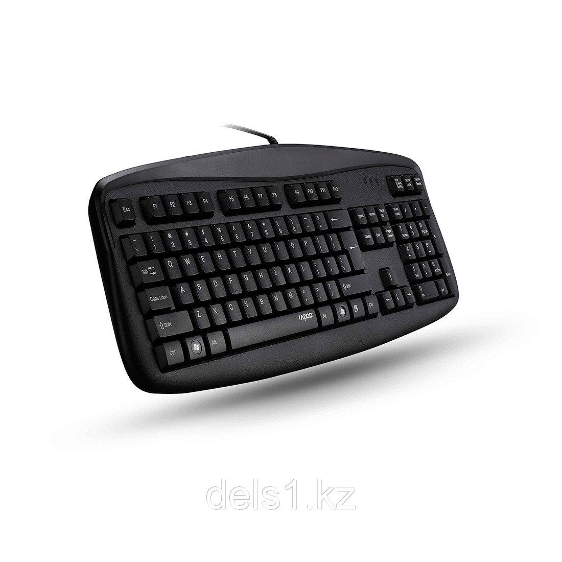 Клавиатура, Rapoo, NK2500, USB, Кол-во стандартных клавиш 104, Длина кабеля 1,45 метра, Анг/Рус/Каз, Чёрный