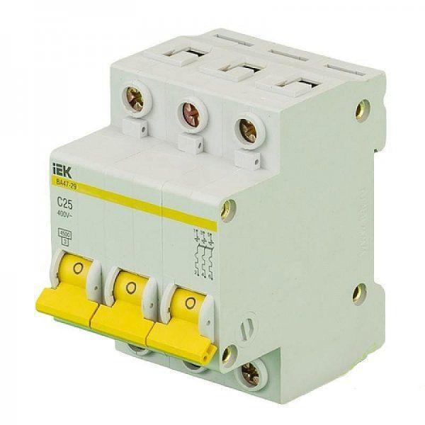 Автоматический выключатель реечный IEK ВА47-29 3P 10А, 230/400 В, Кол-во полюсов: 3, Предел отключения: 4,5 кА