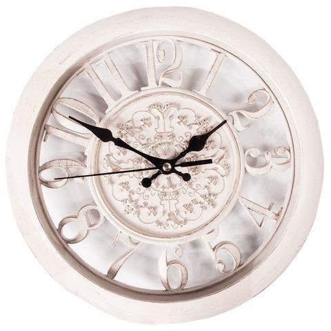 Часы настенные с прозрачным циферблатом, диаметр 27.5 см (Бежевый)