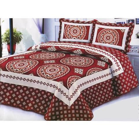 Одеяло-покрывало стеганое двуспальное с наволочками, 220х240см, AY-048 (Бордовый)