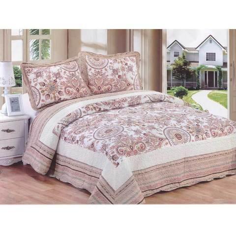 Одеяло-покрывало стеганое двуспальное с наволочками, 220х240см, AY-048 (Бежевый)
