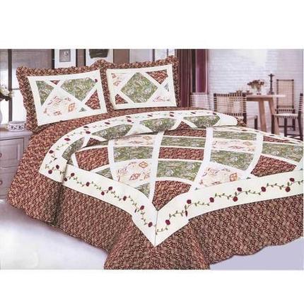 Одеяло-покрывало стеганое двуспальное с наволочками, 220х240см, AY-048 (Коричневый), фото 2
