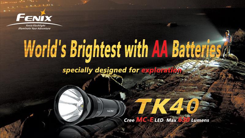 Фонарь электрический тактический Fenix TK40, Дальность луча: 300 м, Яркость: 630 лм, Водонепроницаемость на гл