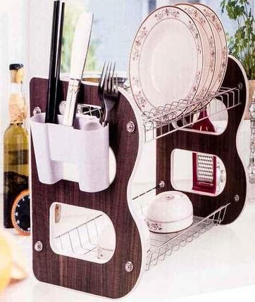 Сушилка для посуды настольная с держателем столовых приборов и кухонных аксессуаров «Double B», фото 2