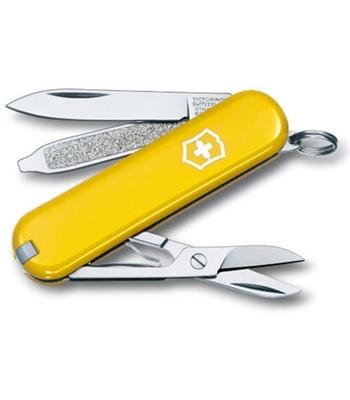 Нож складной карманный Victorinox Classic, Функционал: Туризм, Кол-во функций: 7 в 1, Цвет: Жёлтый, (0.6223.8)