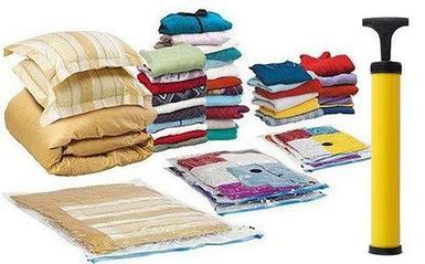 Набор вакуумных пакетов различных размеров для хранения вещей с насосом {6 предметов}