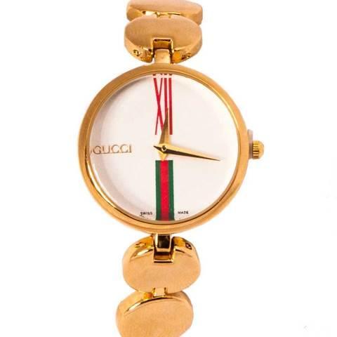 Часы наручные женские реплика GUCCI No.5412 (Жёлтое золото, белый циферблат)