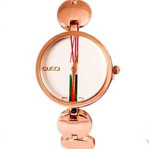 Часы наручные женские реплика GUCCI No.5412 (Розовое золото, белый циферблат)