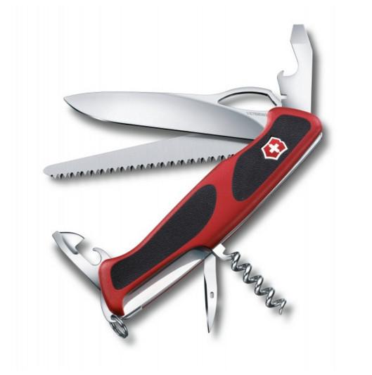 Нож складной карманный Victorinox Rangergrip, Функционал: Туризм, Кол-во функций: 12 в 1, Цвет: Красно-чёрный,
