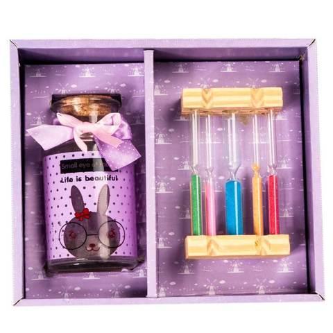 Подарочный набор «Загадай желание» [баночка пожеланий + песочные часы] (Фиолетовый)