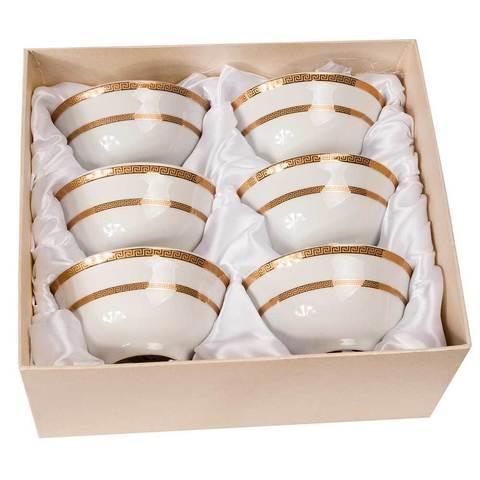 Набор для чая из 6 пиал с позолоченным узором 24 Карат (Полоска)