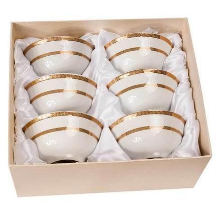 Набор для чая из 6 пиал с позолоченным узором 24 Карат (Полоска), фото 2
