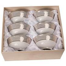 Набор для чая из 6 пиал с позолоченным узором 24 Карат (Полоска), фото 3