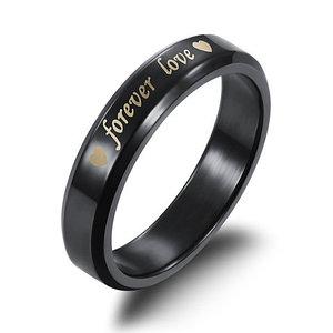 Кольцо для влюбленных «Forever love» Black Edition (10 (Ø19,5 мм))
