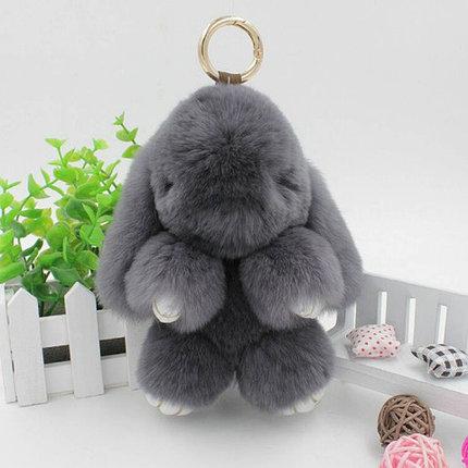 Брелок из натурального меха «Пушистый кролик» [19см] (Светло-серый), фото 2
