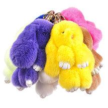 Брелок из натурального меха «Пушистый кролик» [19см] (Розовый с ресничками), фото 2