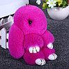 Брелок из натурального меха «Пушистый кролик» [19см] (Розовый с ресничками), фото 3