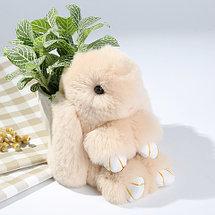 Брелок из натурального меха «Пушистый кролик» [19см] (Малиновый с ресничками), фото 3