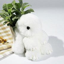 Брелок из натурального меха «Пушистый кролик» [19см] (Малиновый с ресничками), фото 2