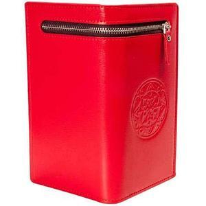 Портмоне вертикальное из экокожи тисненое орнаментом [унисекс] (Красный)
