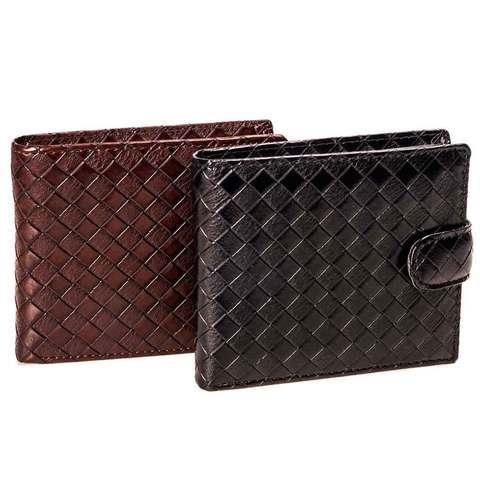 Бумажник мужской с клапаном из плетеной прессованной экокожи (Черный)