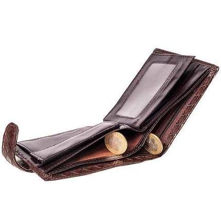 Бумажник мужской с клапаном из плетеной прессованной экокожи (Черный), фото 2