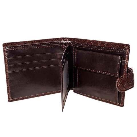 Бумажник мужской с клапаном из плетеной прессованной экокожи (Кофейный)