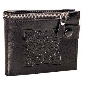 Бумажник двойного сложения с национальным узором мужской