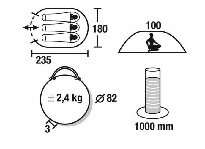 Палатка трекинговая (равнинная) High Peak Vision 3, Кол-во человек: 3, Входов/комнат: 1/1, Тамбуров: Нет, Внут - фото 2