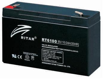 Батарея необслуживаемая (аккумулятор) Ritar RT6100 (6V 10 Ah), Емкость аккумулятора: 10 Ah, Разъемы: F1/F2