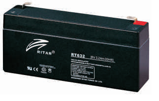 Батарея необслуживаемая (аккумулятор) Ritar RT632 (6V 3,2 Ah), Емкость аккумулятора: 3,2 Ah, Разъемы: F1
