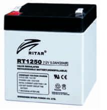 Батарея необслуживаемая (аккумулятор) Ritar RT1250 (12V 5 Ah), Емкость аккумулятора: 5 Ah, Разъемы: F1/F2