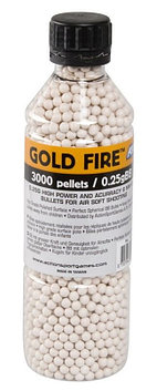 Пластиковые шарики для страйкбольного оружия ASG BB Gold Fire, 3000 шт., 0,25 г, Цвет: Белый, Упаковка: Бутылк