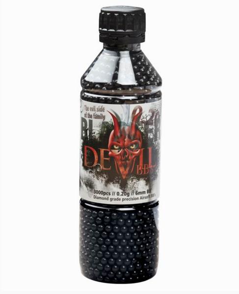 Пластиковые шарики для страйкбольного оружия ASG BB Blaster Devil, Калибр: 6,0, 3000 шт., 0,20 г, Цвет: Чёрный