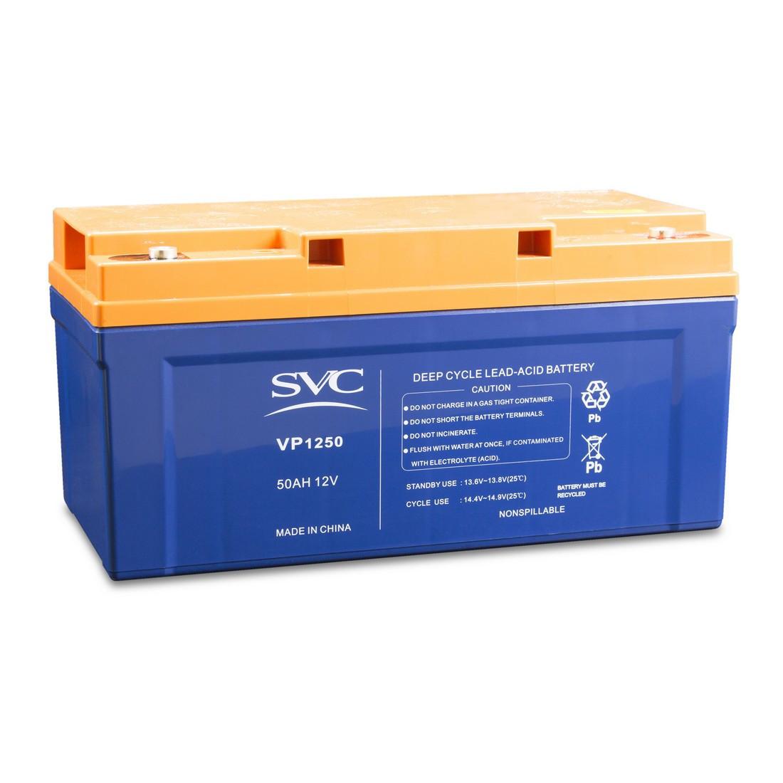 Батарея необслуживаемая (аккумулятор) SVC VP 1250 (12V 50 Ah), Емкость аккумулятора: 50 Ah, Разъемы: F5/F12