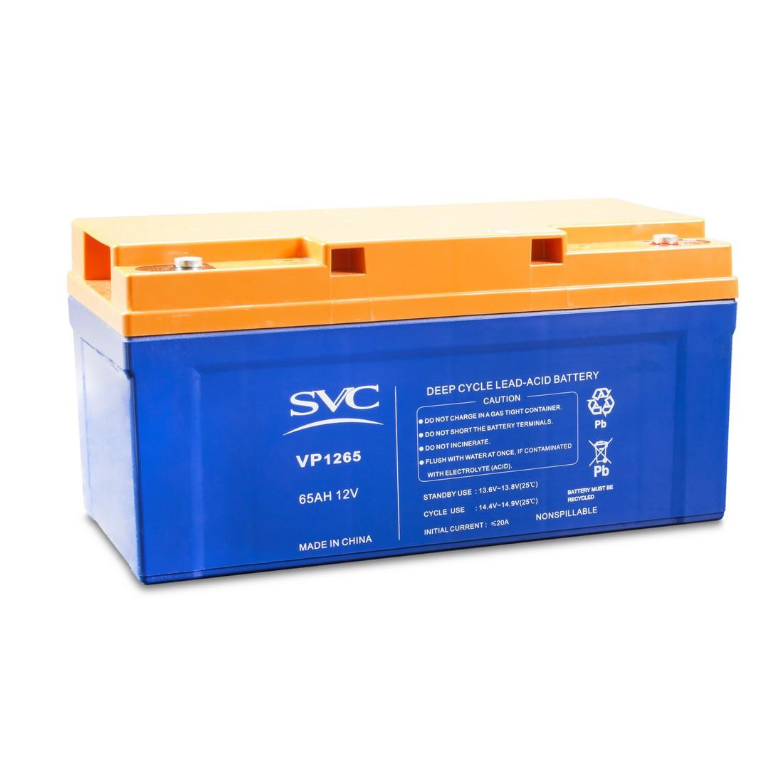 Батарея необслуживаемая (аккумулятор) SVC VP 1265 (12V 65 Ah), Емкость аккумулятора: 65 Ah, Разъемы: F5/F12