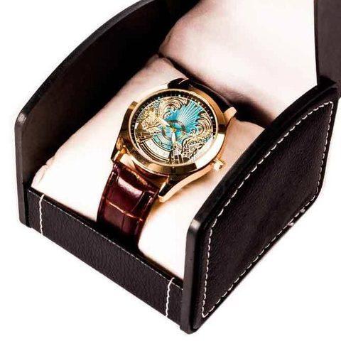Часы мужские кварцевые «Kazakhstan Collection» с изображением герба (Коричневый, золотистый циферблат)