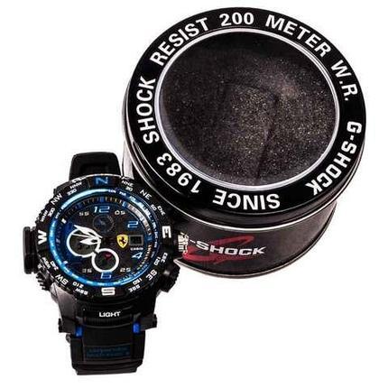 Часы мужские электронные реплика CASIO G-SHOCK SINCE 1983 с разноцветной подсветкой (Чёрный с синим), фото 2