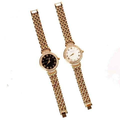 Часы наручные женские реплика MICHAEL KORS MK-1069 (Золото, черный циферблат)