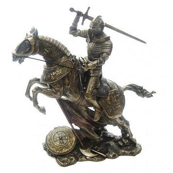 Статуэтка Wise Unicorn Конный рыцарь с мечом, Высота: 280 мм, Материал: Полистоун, Цвет: Бронзовый, (WU73737A)