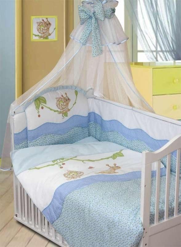 ЗОЛОТОЙ ГУСЬ Комплект в кровать 7 пр УЛЫБКА  голубой