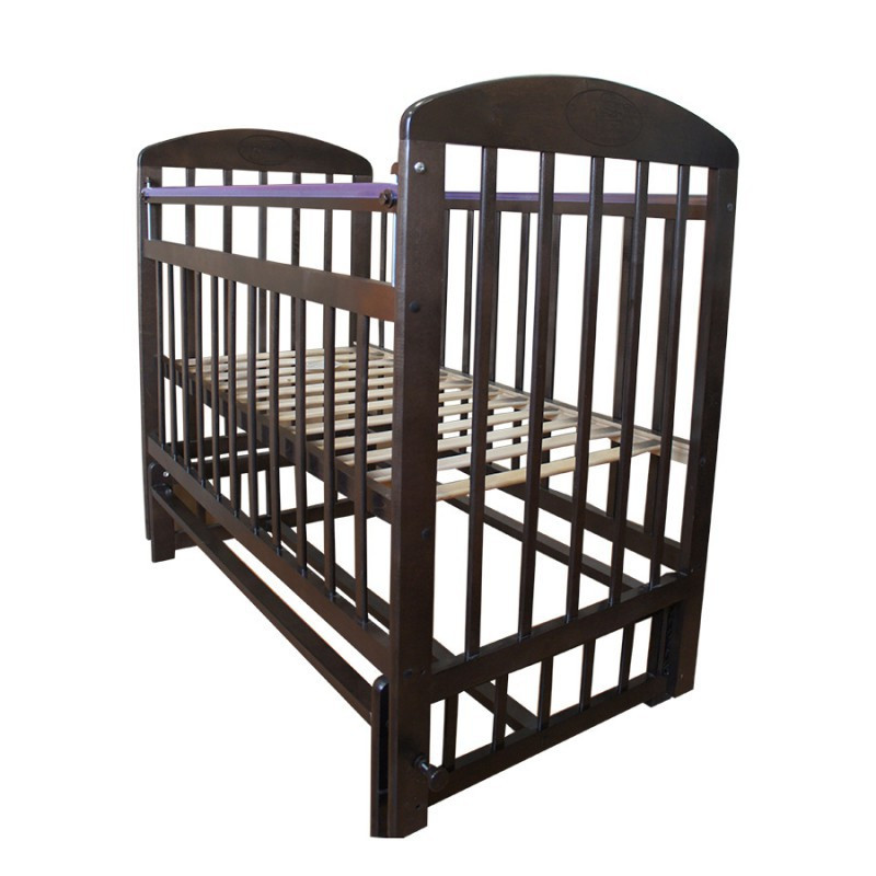 Кровать детская Мой малыш 9 маятник поперечного  качания с накладкой венге