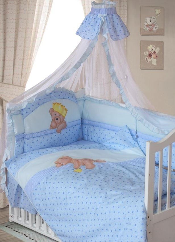 ЗОЛОТОЙ ГУСЬ Комплект в кровать 8 пр МИШКА-  ЦАРЬ голубой