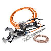 Комплект гидравлических ножниц с ножной помпой для резки кабелей под напряжением КВТ НГПИ-105