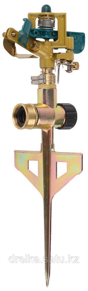 Распылитель для полива RACO 4260-55/704C, ЭКСПЕРТ, импульсный, латунный, на пике с упорами, 490 кв.м