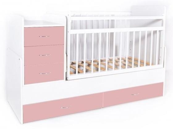 Кровать-трансформер детская Bambini M 01 10 01 Бело-Розовый фасад МДФ