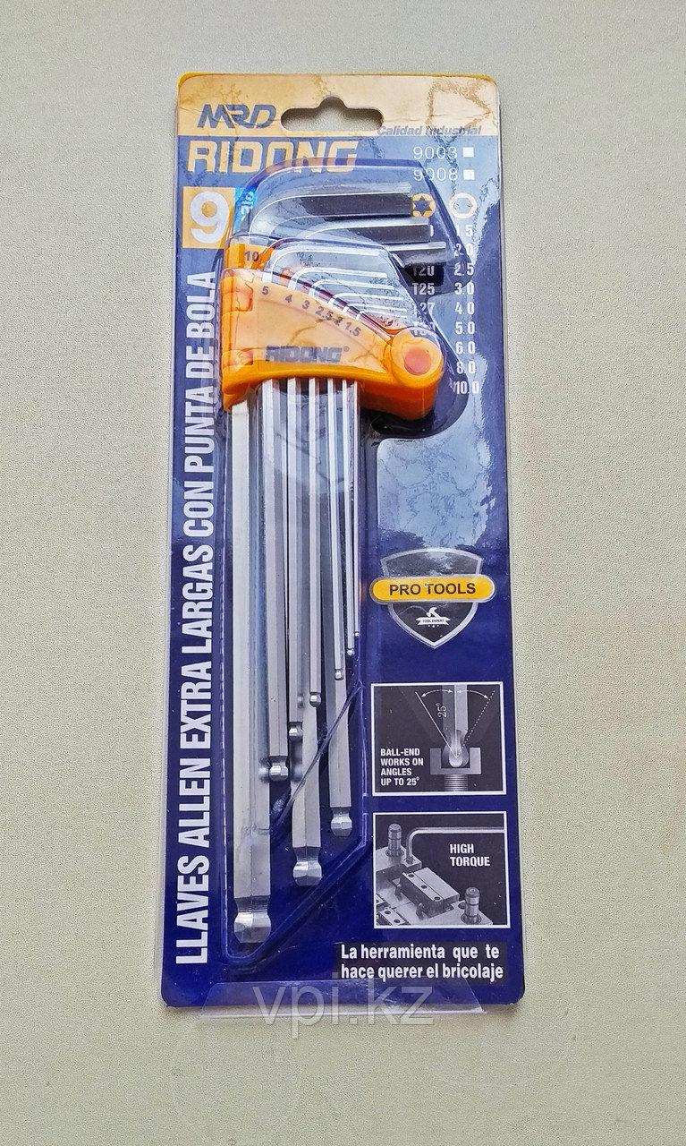Набор имбусовых ключей,  HEX (шестигранник) длинные, 1.5-10мм.  9шт. RIDONG