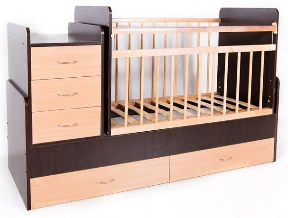 Кровать-трансформер детская Bambini M 01 10 01 Темный орех+Натуральный