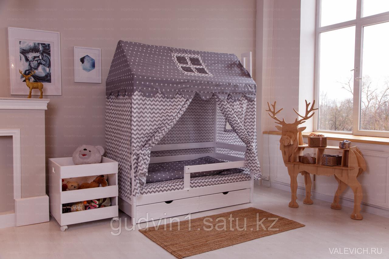 """Комплект белья  для кроватки """"Домик"""" серый 00-92984"""